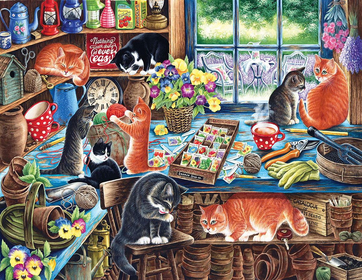 In a Garden Shed Cats Jigsaw Puzzle