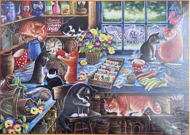 In The Garden Shed Cats Jigsaw Puzzle