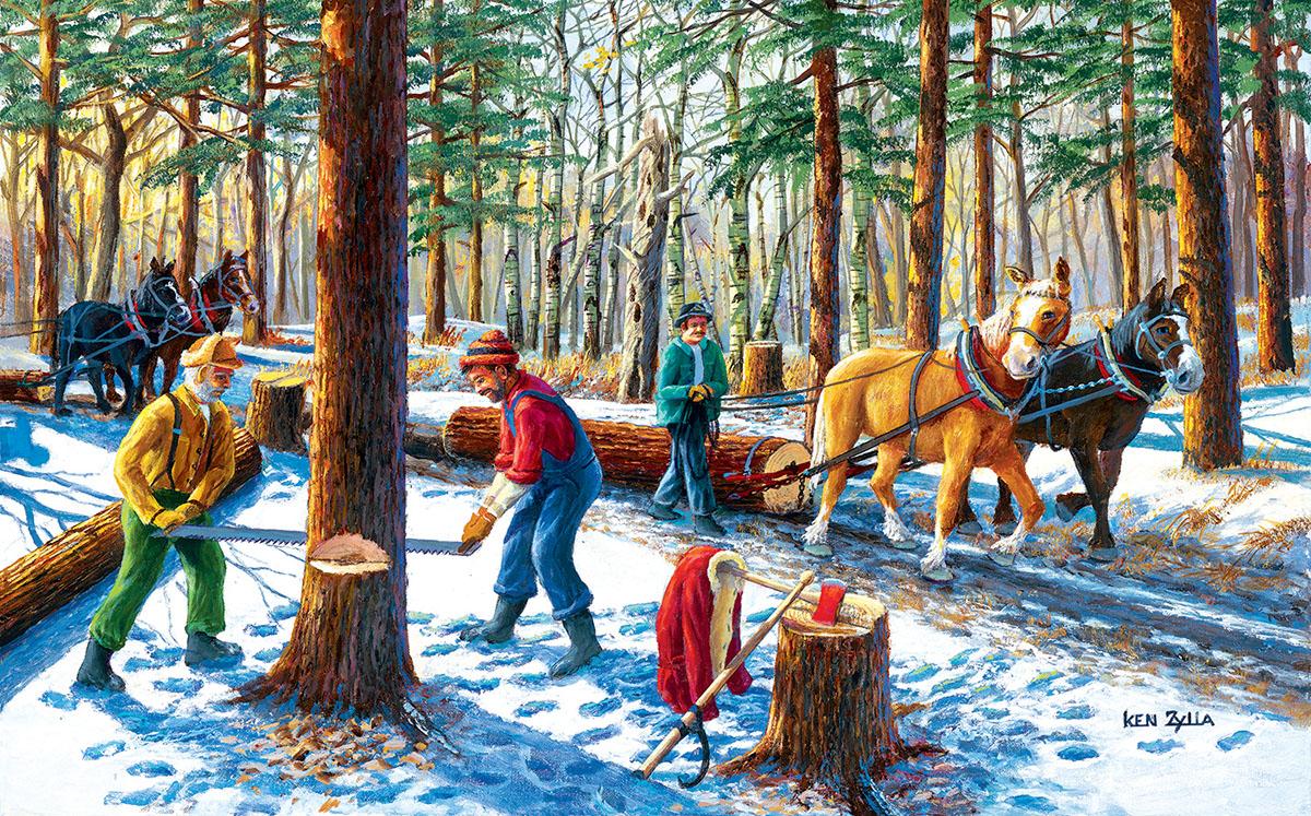Lumberjacks Horses Jigsaw Puzzle
