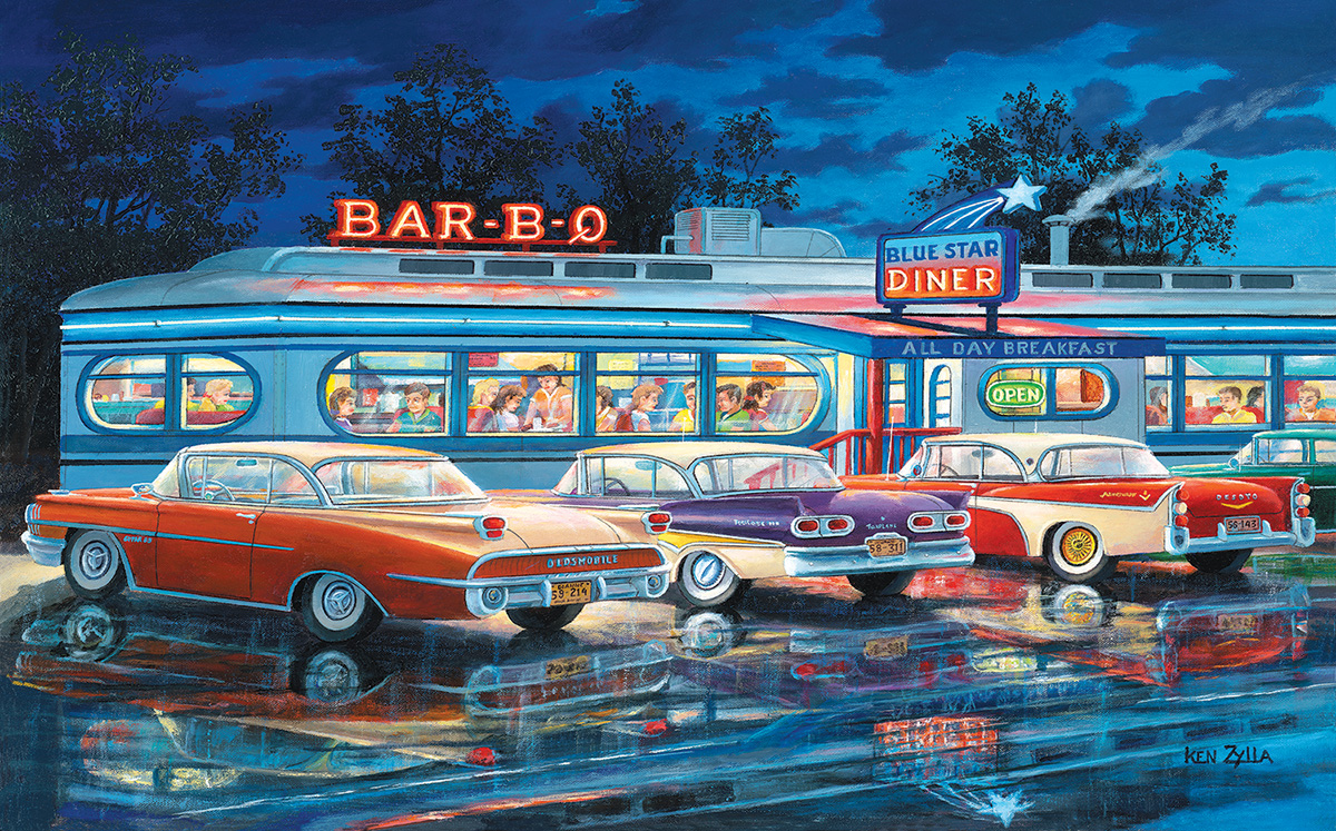 At the Bar-B-Que - Scratch and Dent Cars Jigsaw Puzzle