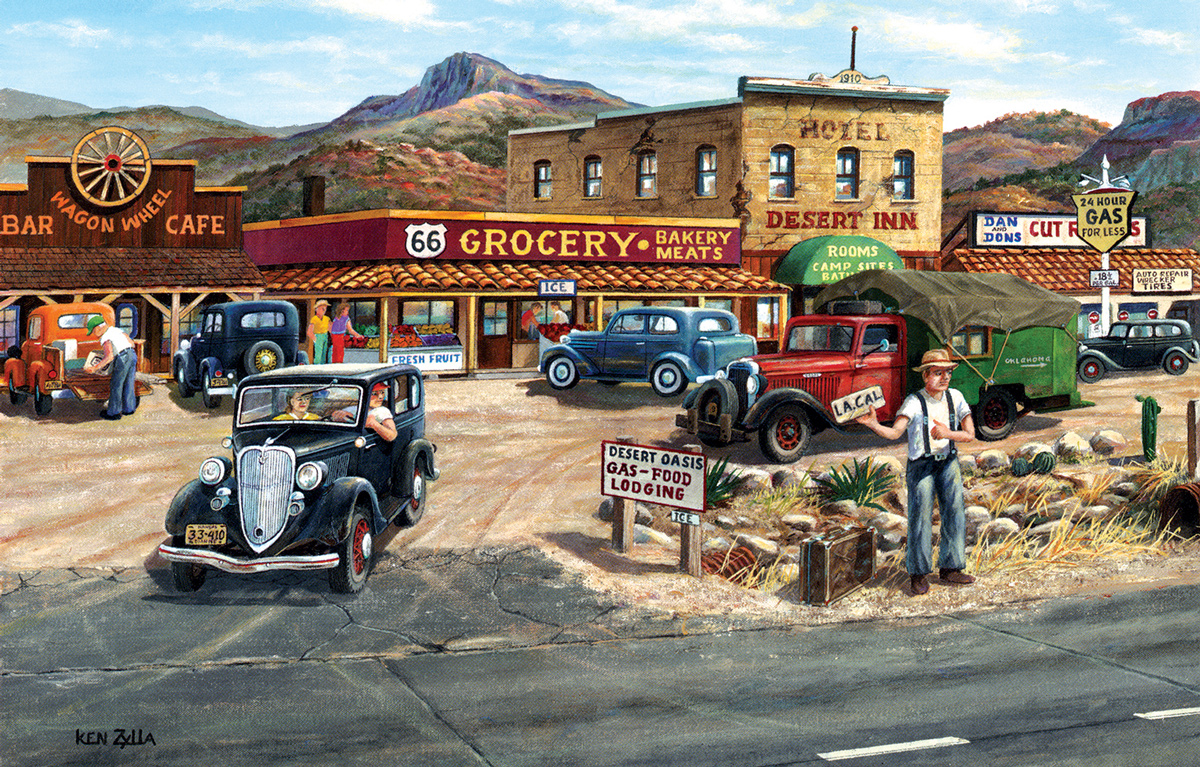 Memories of Route 66 Street Scene Jigsaw Puzzle