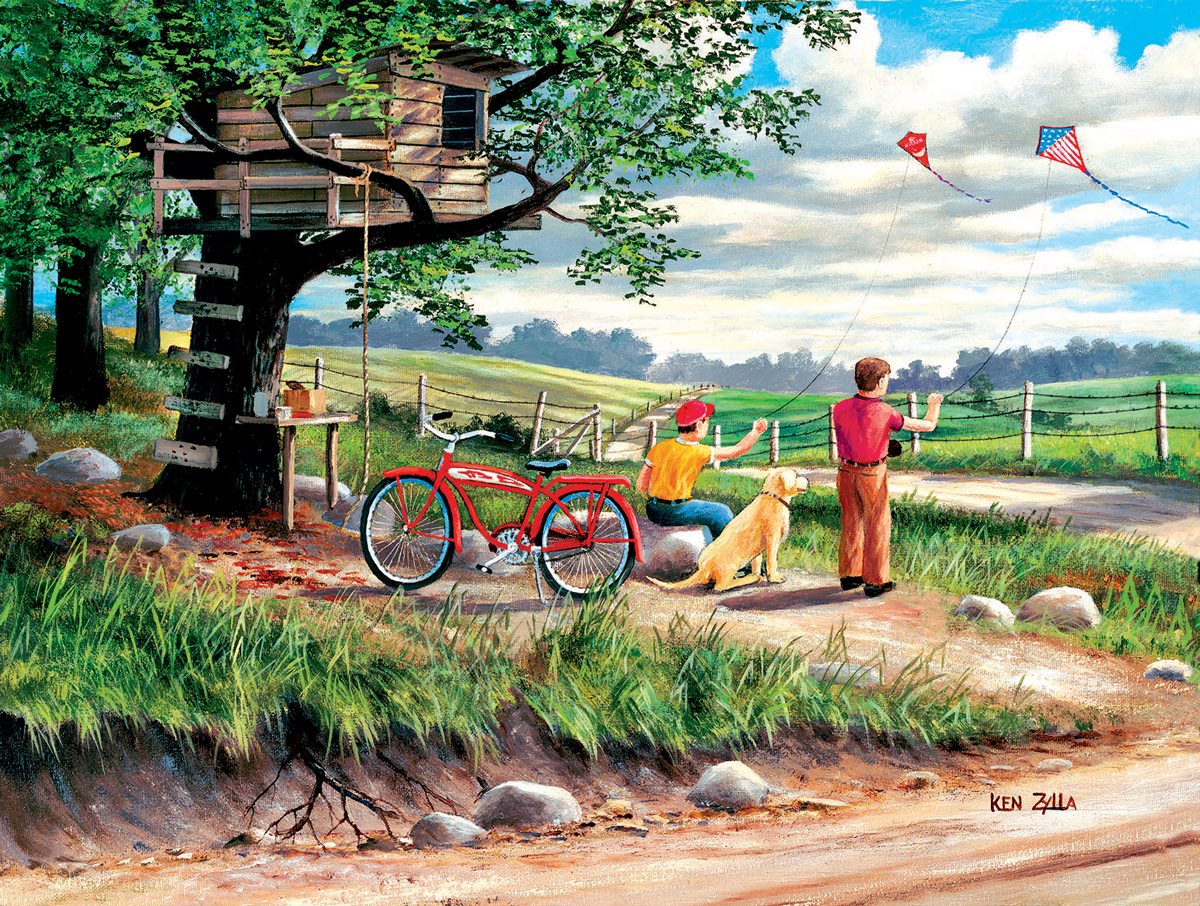 Catching the Wind Domestic Scene Jigsaw Puzzle