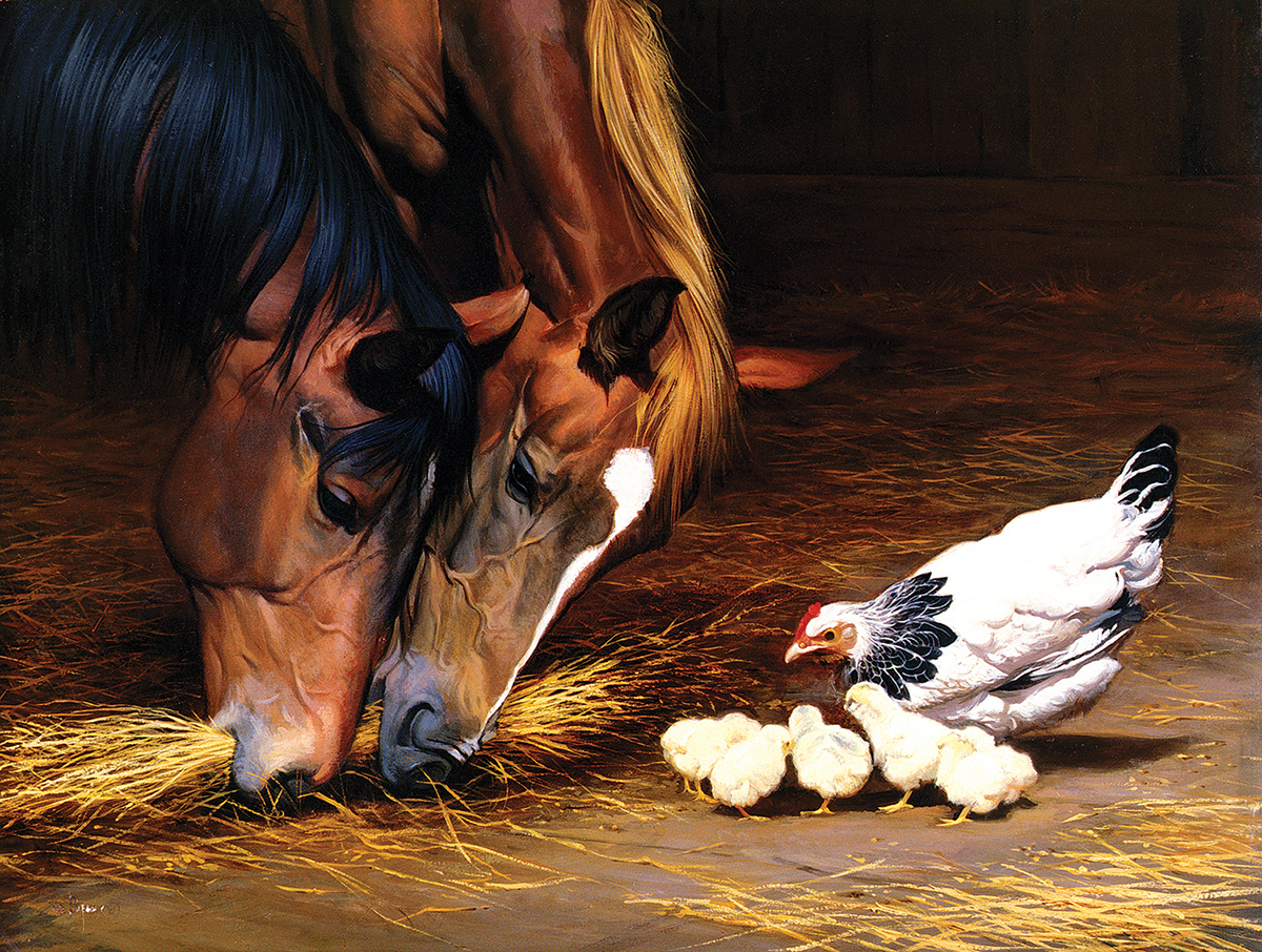 A Shared Meal Horses Jigsaw Puzzle