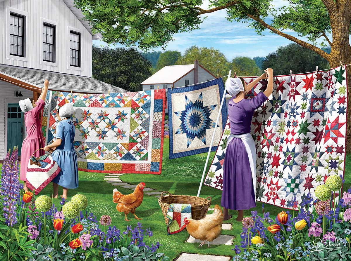 Quilts in the Backyard Domestic Scene Jigsaw Puzzle