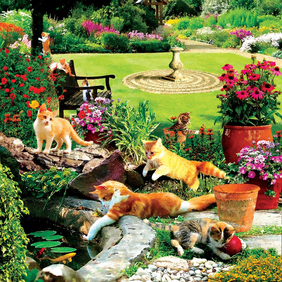 Garden Fishermen Cats Jigsaw Puzzle