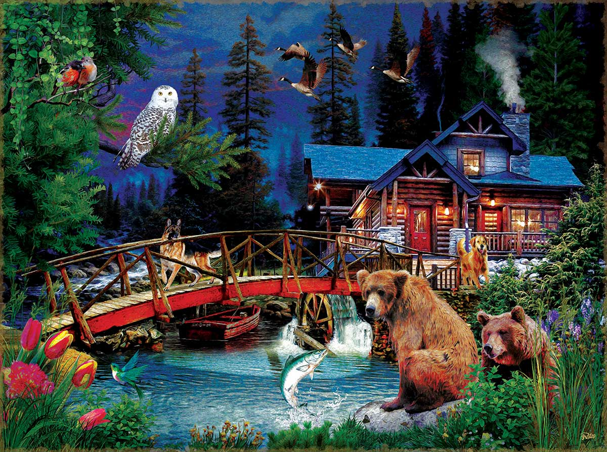 Night at the Cabin Animals Jigsaw Puzzle