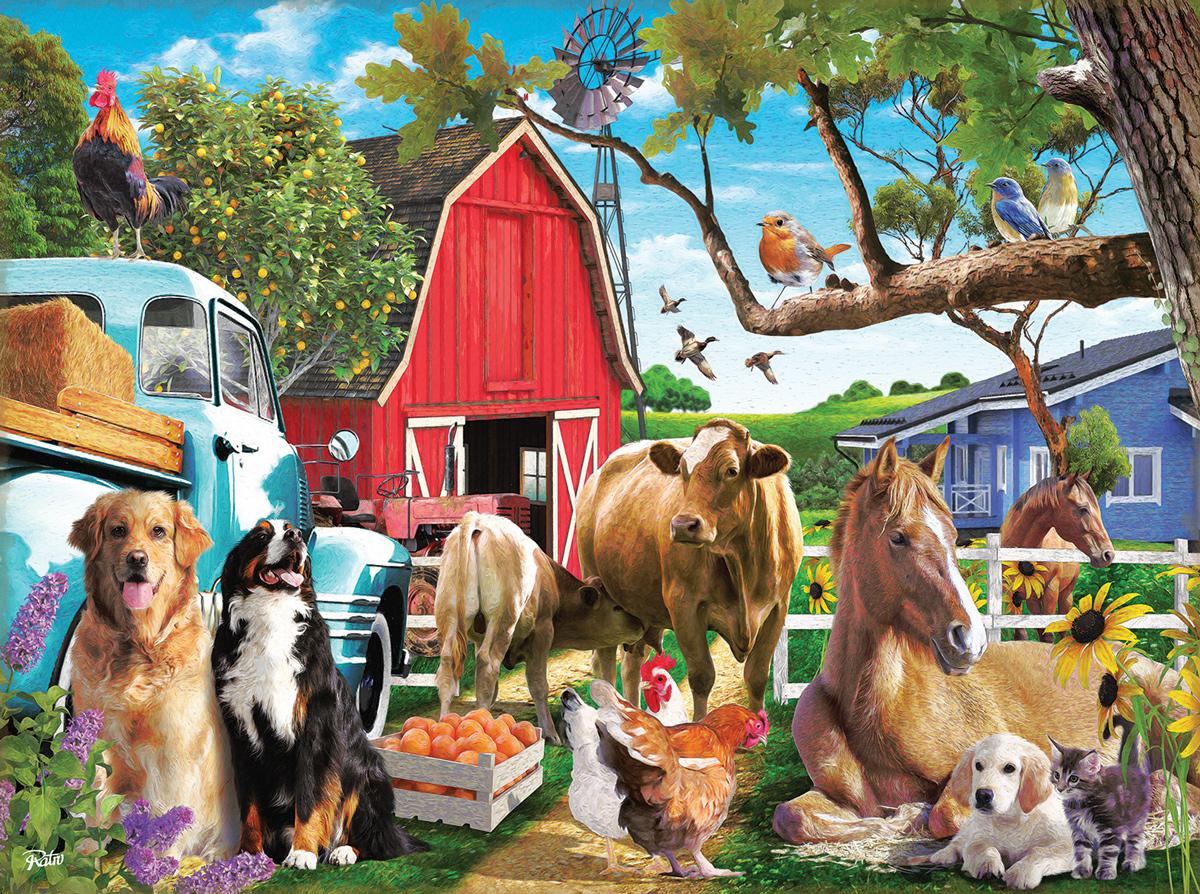 Gathering In The Farm Yard Animals Jigsaw Puzzle