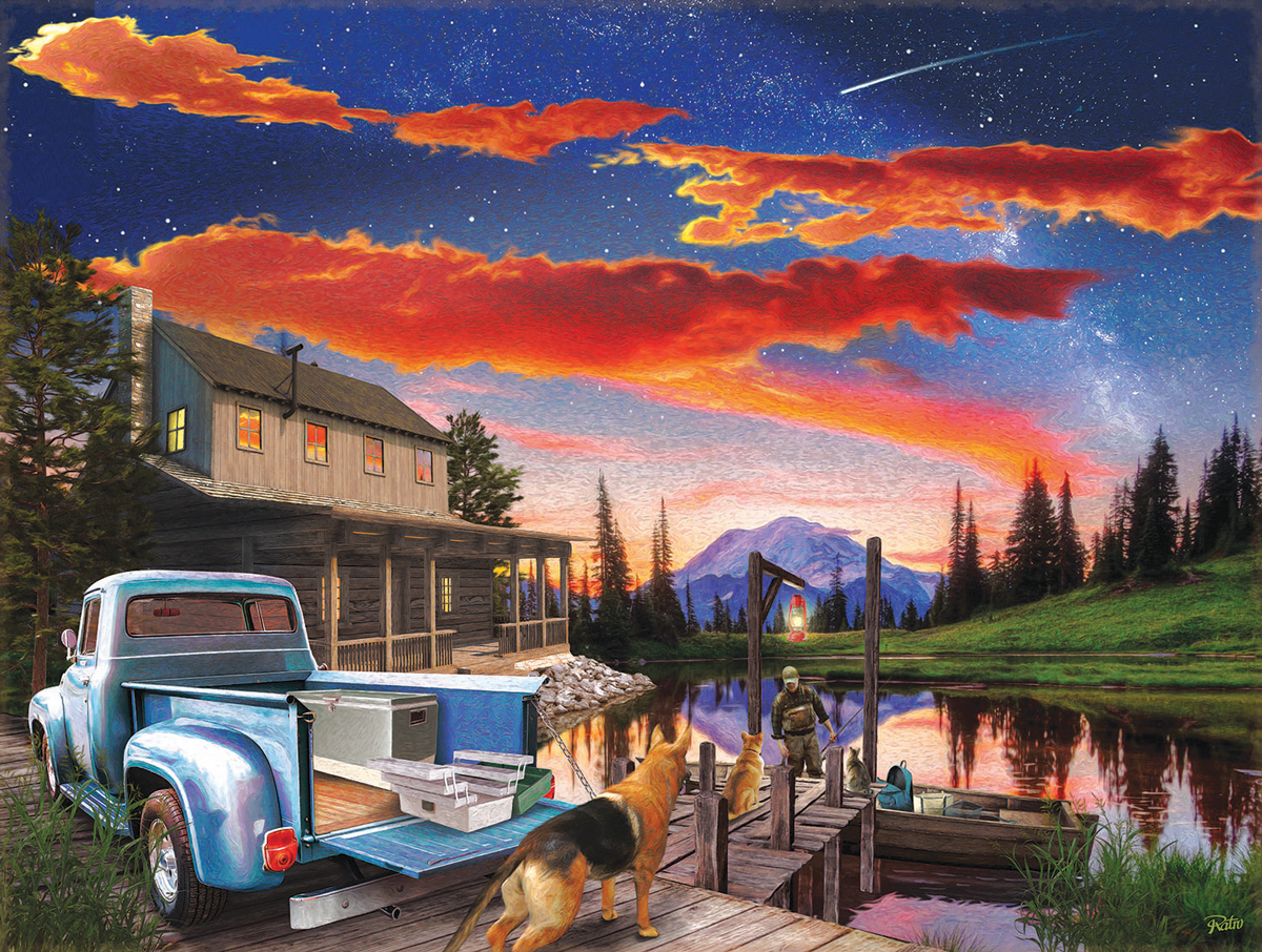 Red Skies Lakes / Rivers / Streams Jigsaw Puzzle
