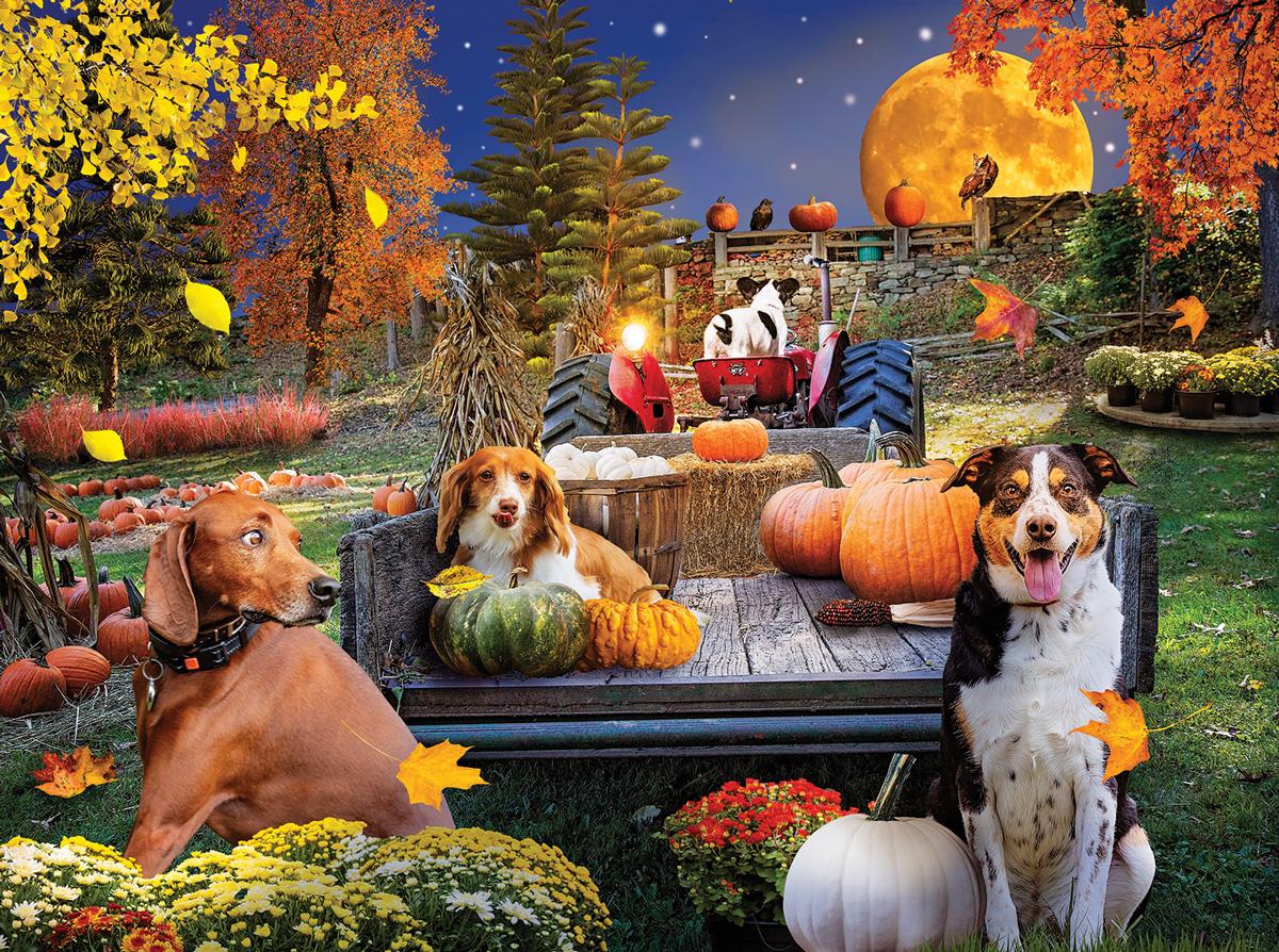Harvest Hayride Dogs Jigsaw Puzzle