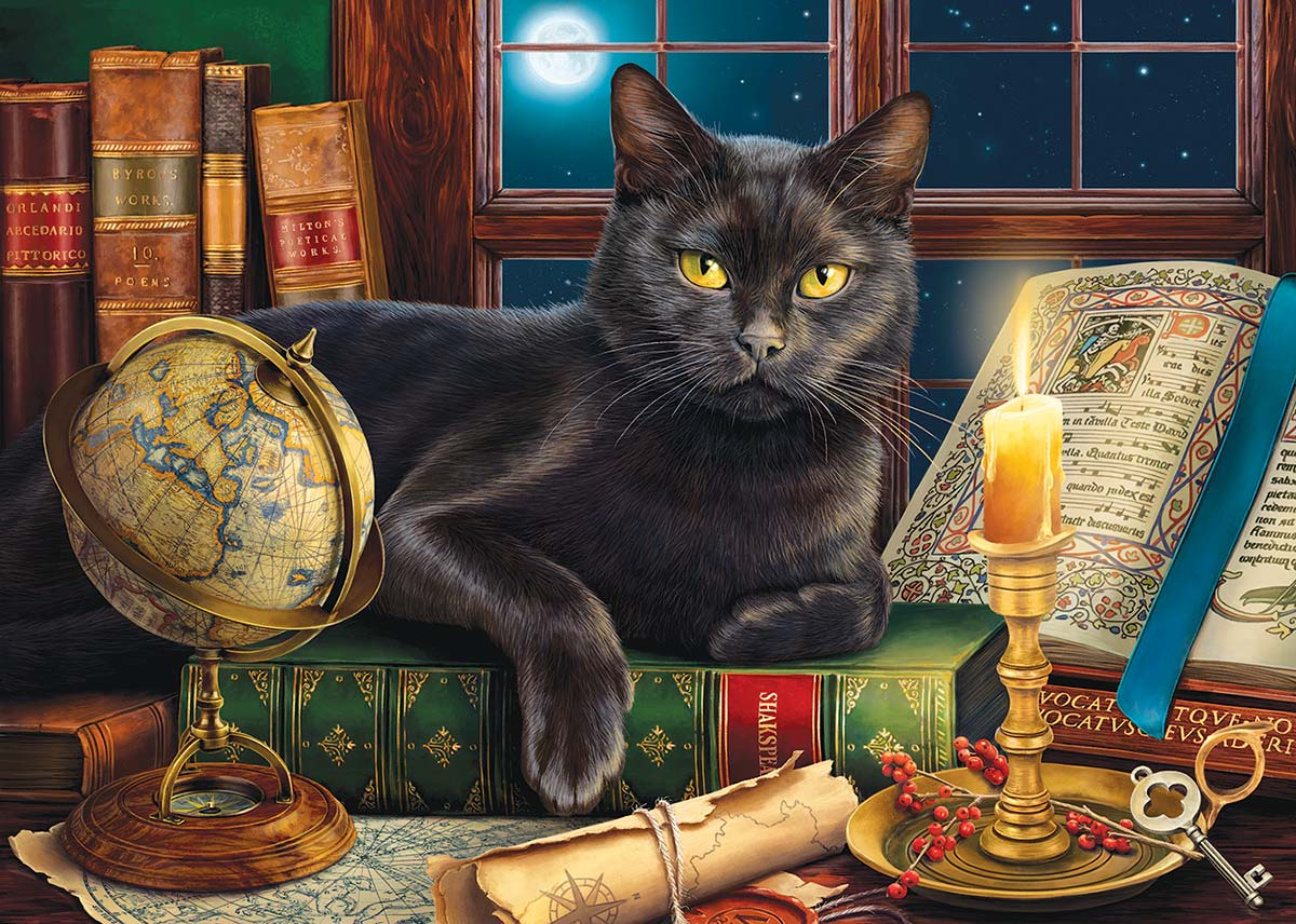 Black Cat by Candlelight Cats Jigsaw Puzzle