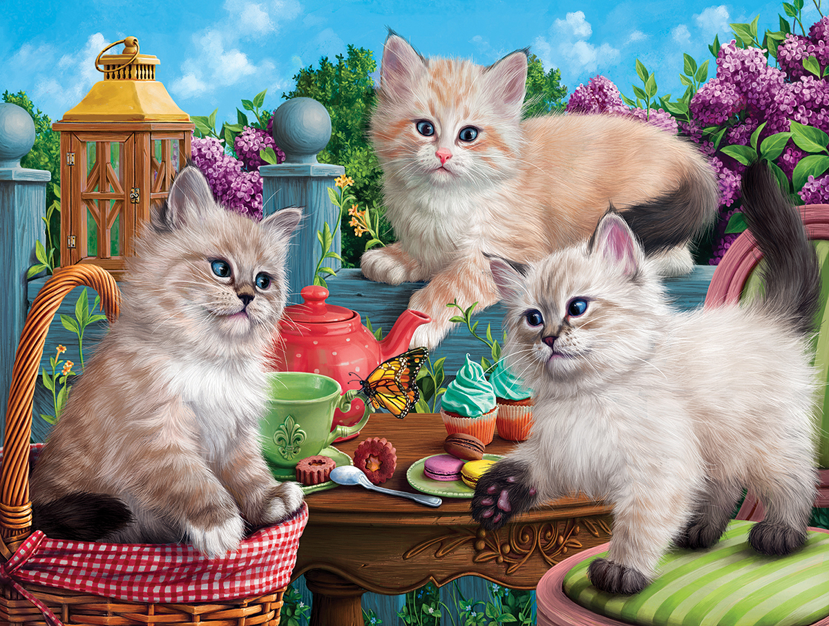 Kitten Tea Party Cats Jigsaw Puzzle