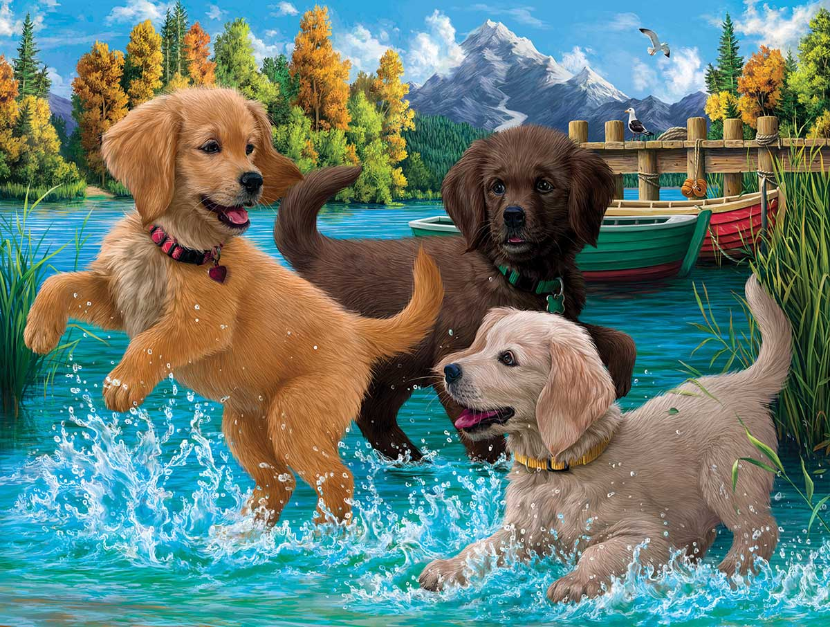 Puppies Make a Splash Dogs Jigsaw Puzzle