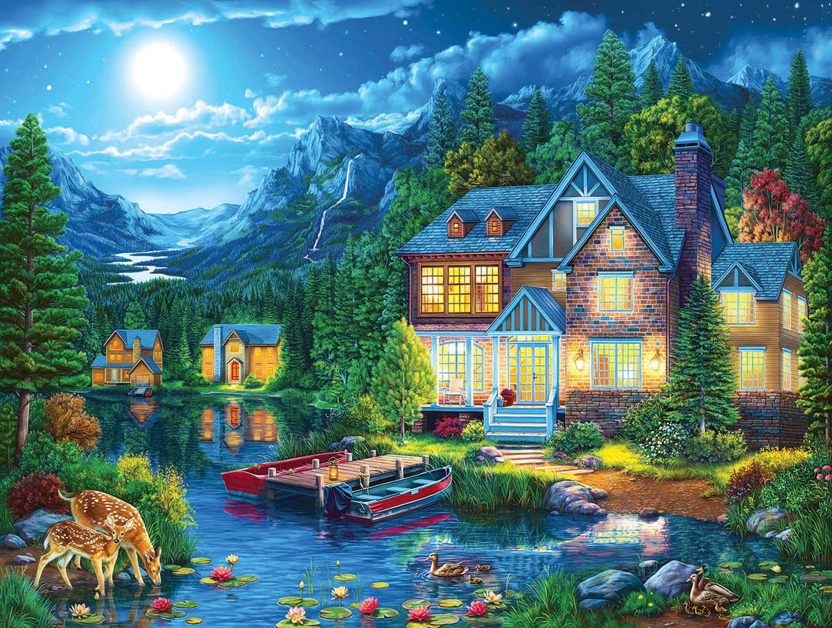 House Near the Lake Lakes / Rivers / Streams Jigsaw Puzzle