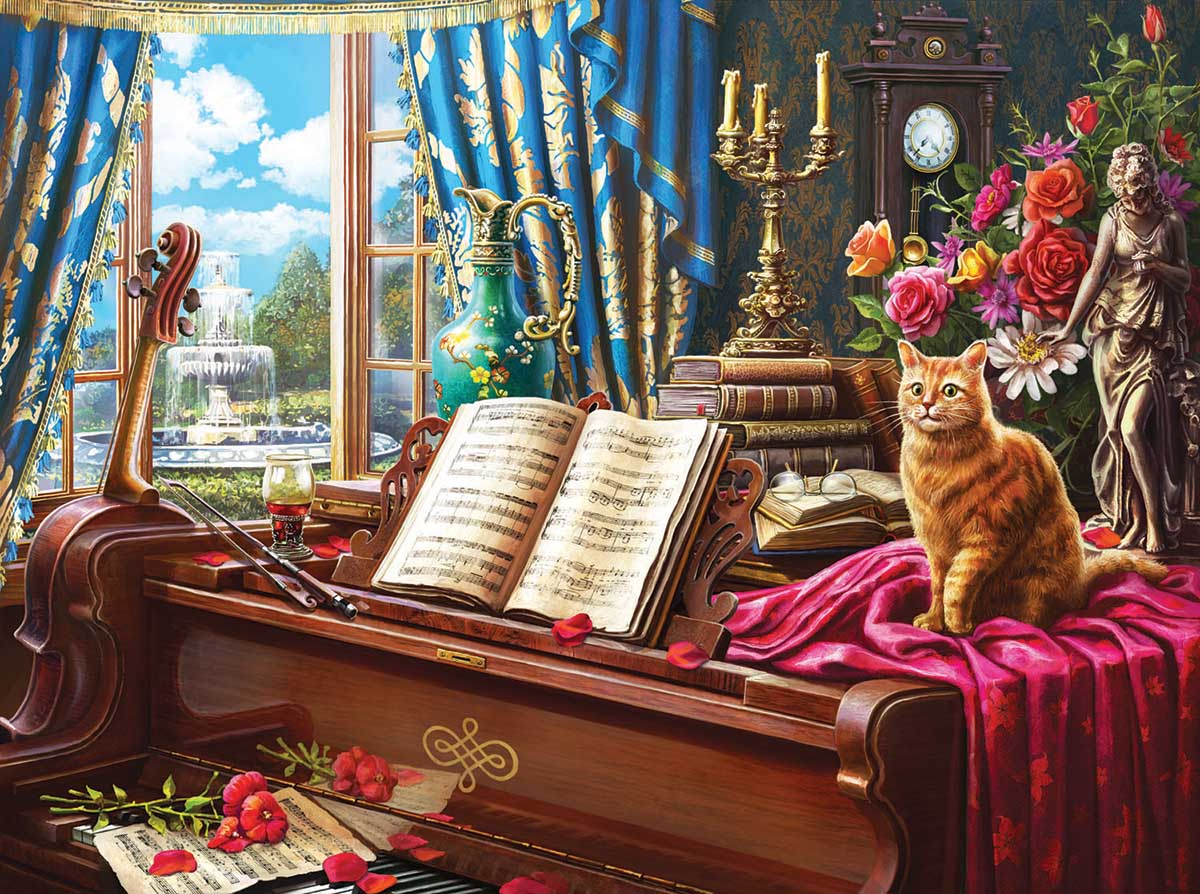 Grand Piano  Cat Cats Jigsaw Puzzle