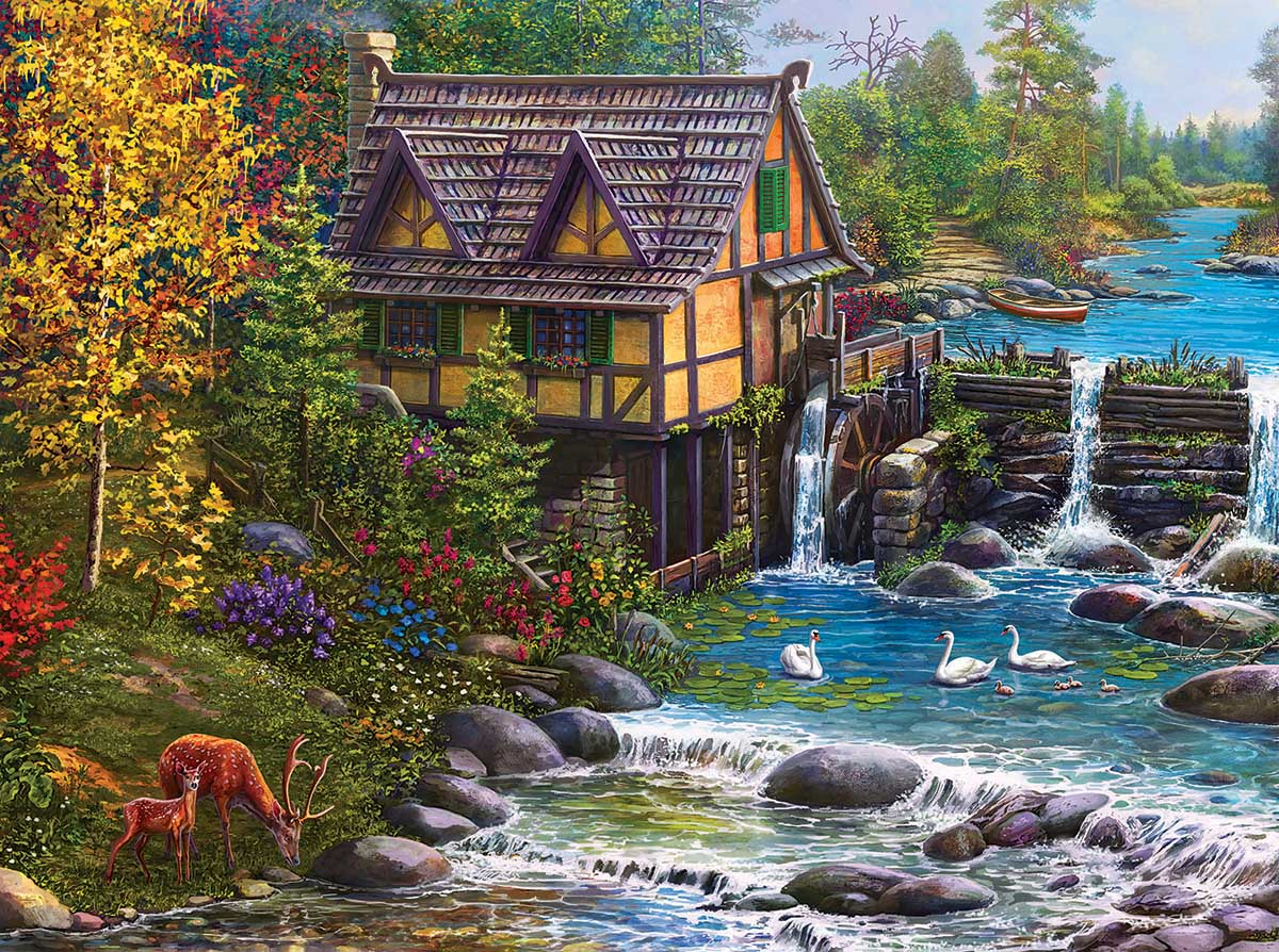 Mill by the Stream Landscape Jigsaw Puzzle