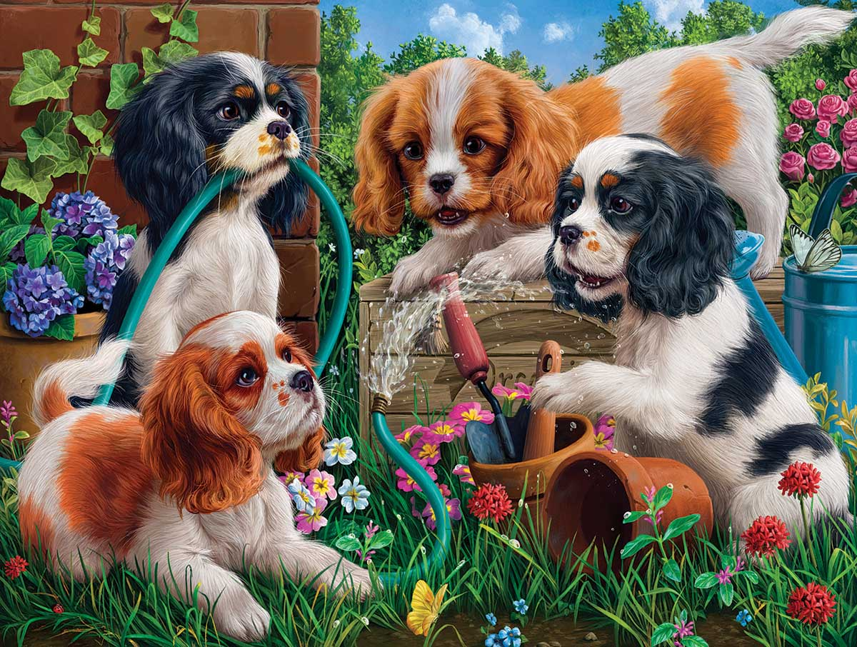 Pups in the Garden Dogs Jigsaw Puzzle