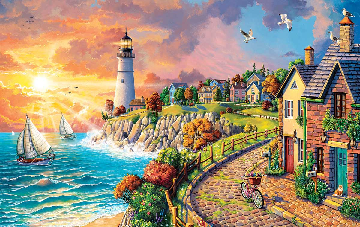 Lighthouse by the Sea Lighthouses Jigsaw Puzzle