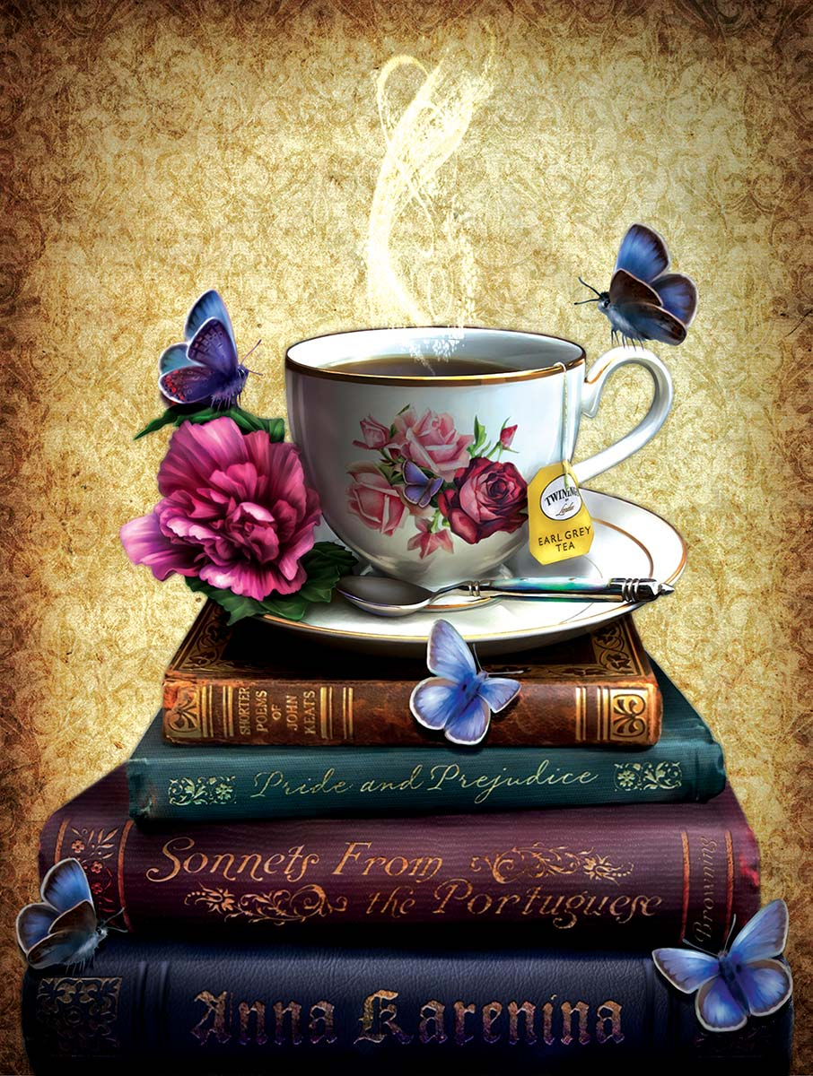 Tea and Books Butterflies and Insects Jigsaw Puzzle