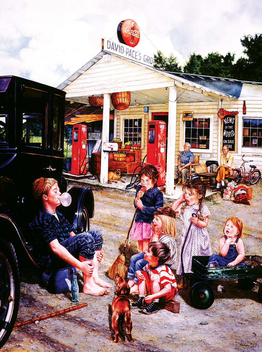 Blowing Bubbles Americana & Folk Art Jigsaw Puzzle