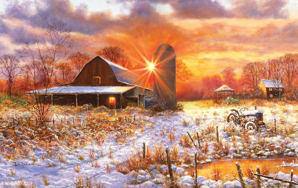 Snow Barn Farm Jigsaw Puzzle