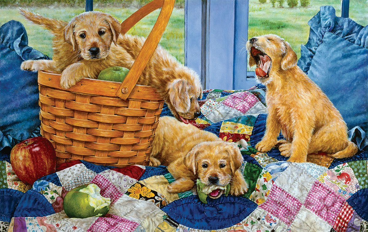 Puppies in a Basket - Scratch and Dent Jigsaw Puzzle