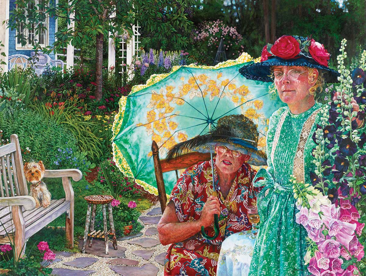 Two Ladies and a Dog Dogs Jigsaw Puzzle