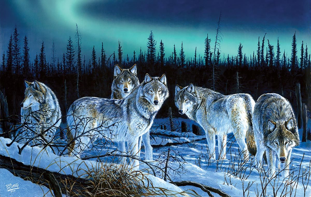 Hunters Light Wolves Jigsaw Puzzle
