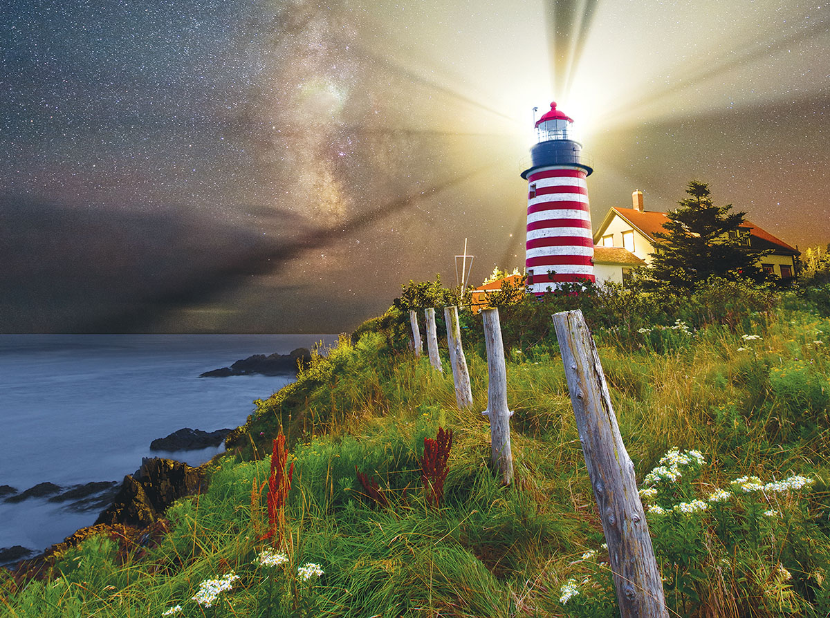 Night over West Quoddy Lighthouse Lighthouses Jigsaw Puzzle