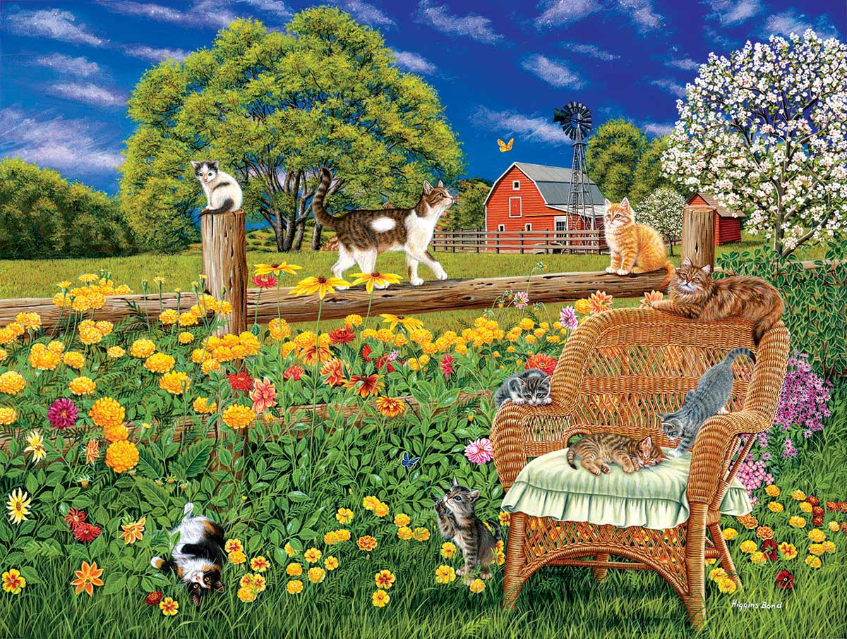 Cats, Flowers and Butterflies Cats Jigsaw Puzzle