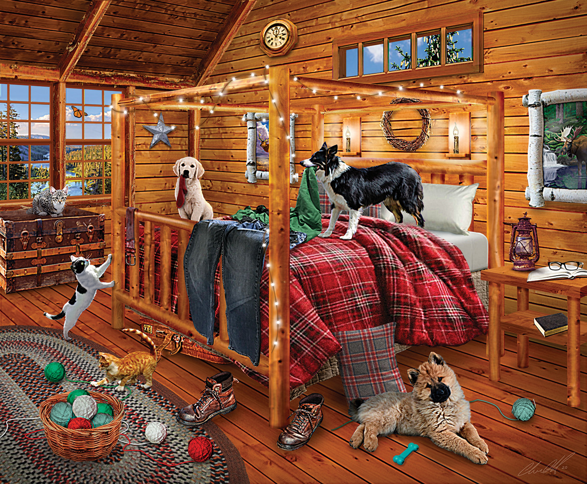 Cabin Mischief Cats Jigsaw Puzzle
