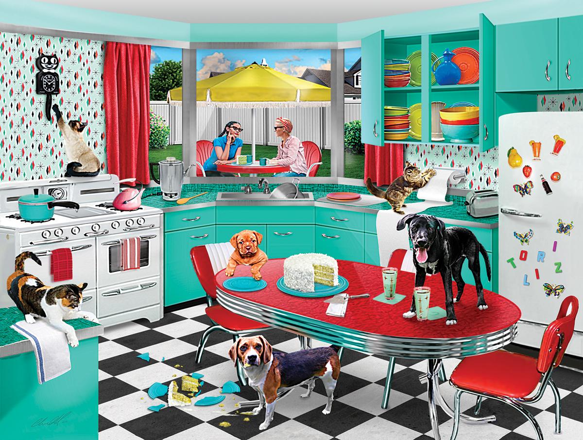 Kitchen Mischief Cats Jigsaw Puzzle