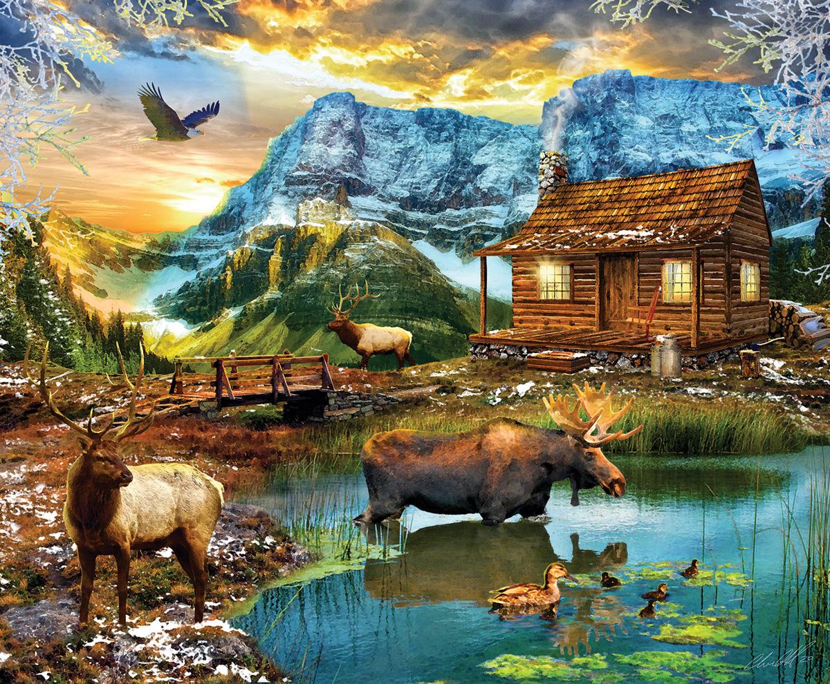 Winter Mountain Cabin Wildlife Jigsaw Puzzle