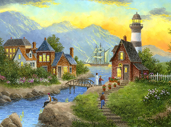 Bayside Afterglow Seascape / Coastal Living Jigsaw Puzzle