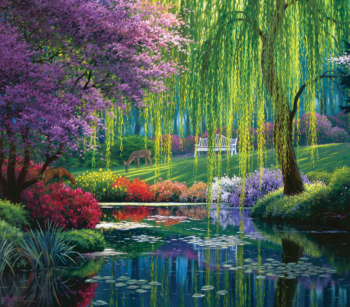 Willow Pond Flowers Jigsaw Puzzle