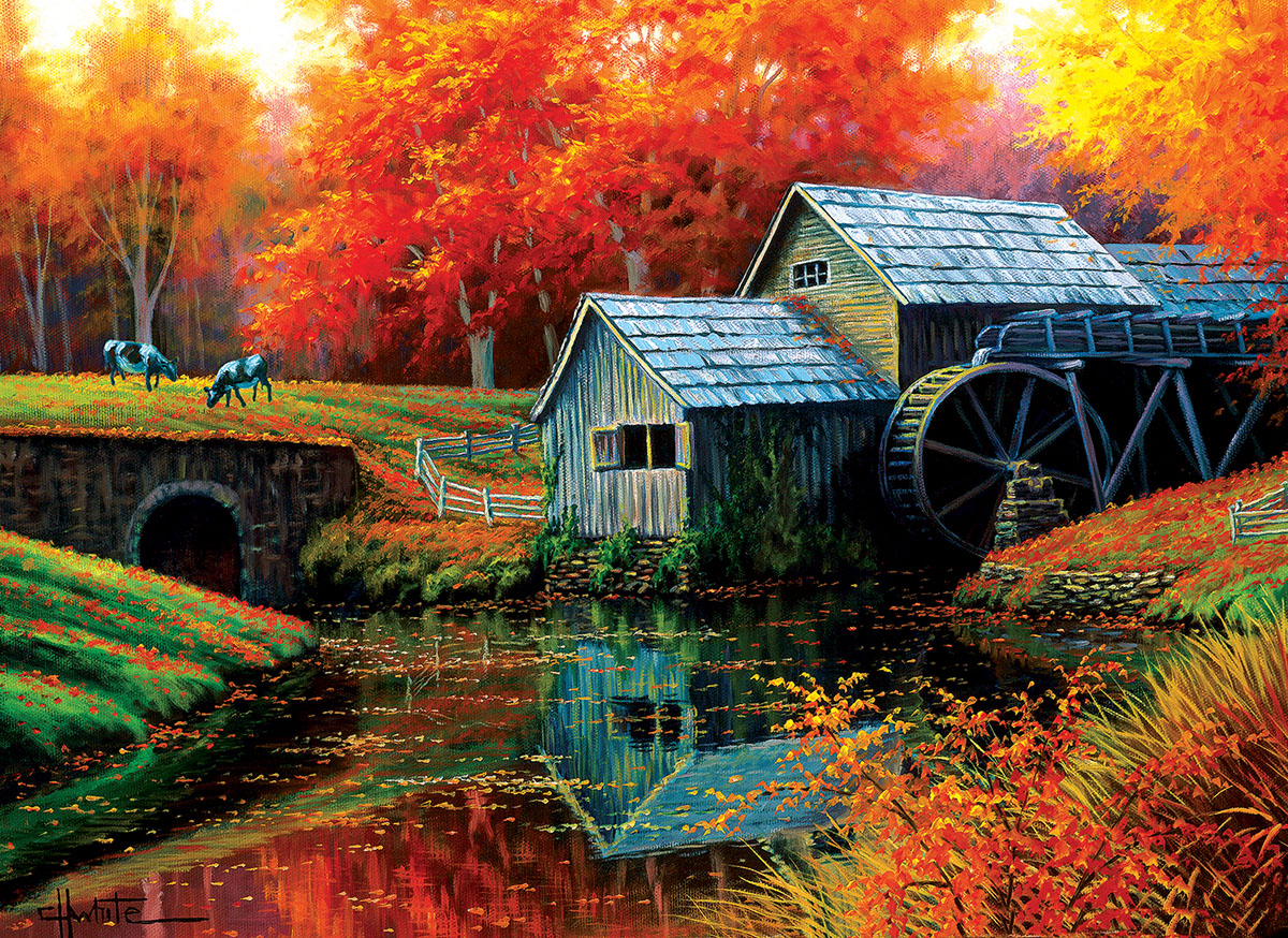 Old Mill in October Countryside Jigsaw Puzzle