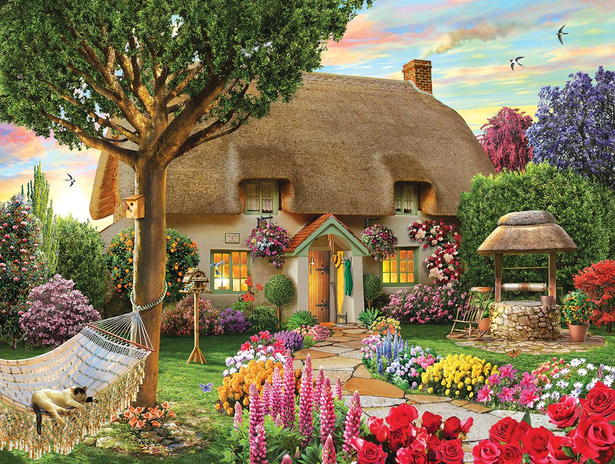 Wishing Well Cottage Flowers Jigsaw Puzzle