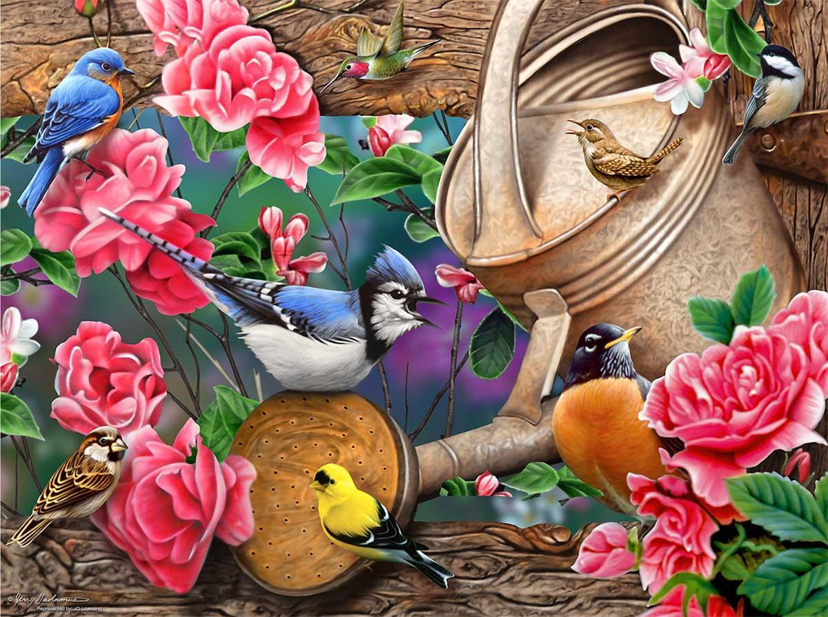 Watering Can Birds Birds Jigsaw Puzzle