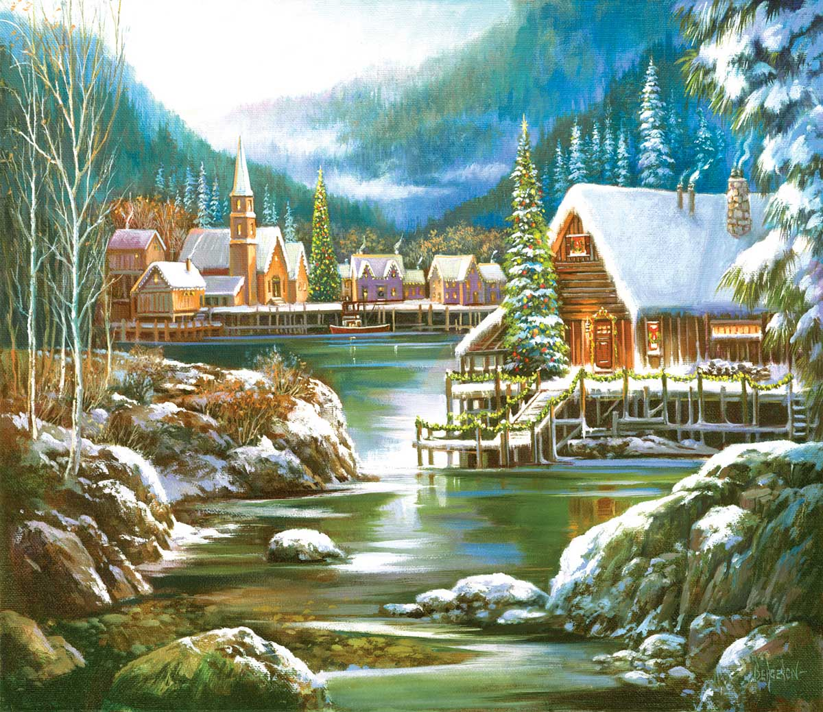 Snowy Harbor Winter Jigsaw Puzzle