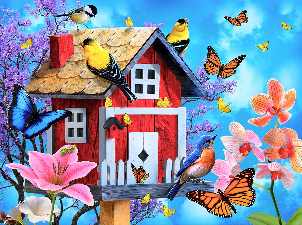 Red Birdhouse Birds Jigsaw Puzzle