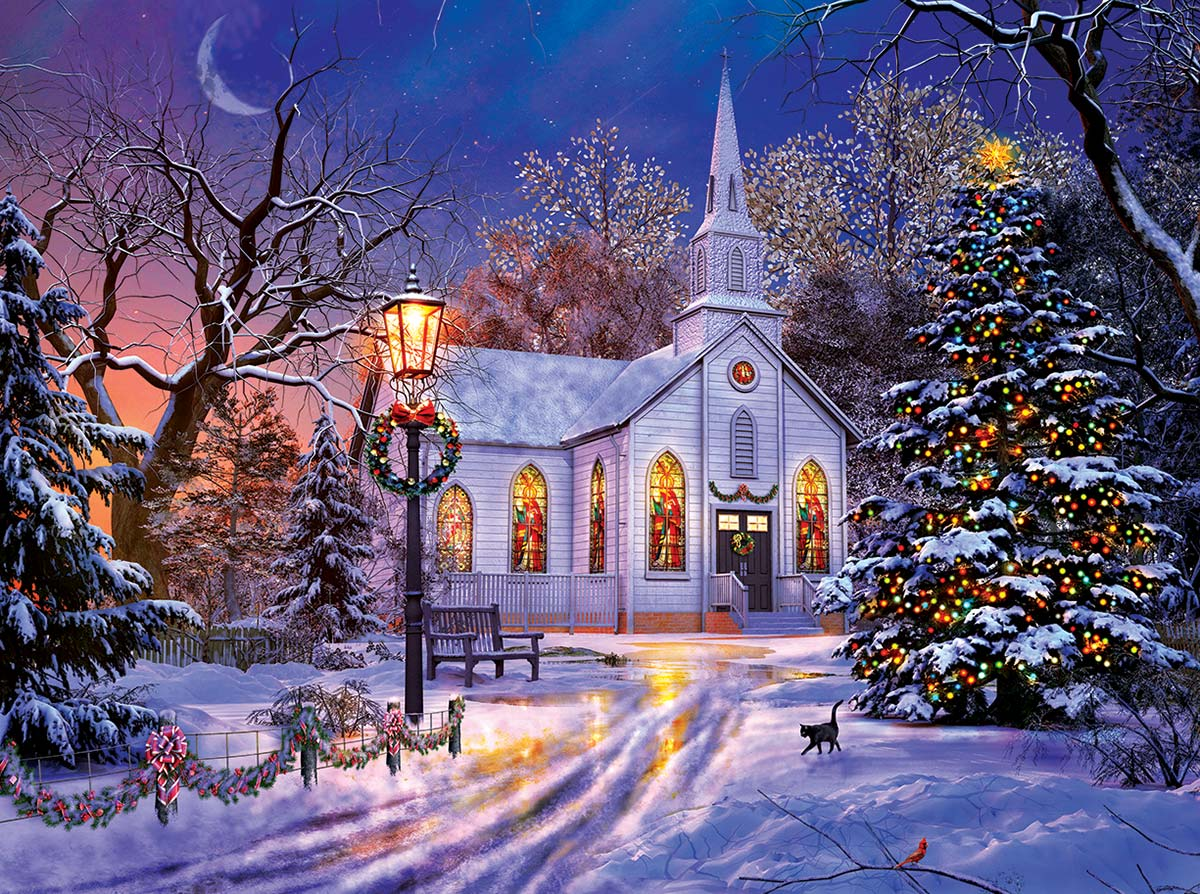The Old Christmas Church Churches Jigsaw Puzzle