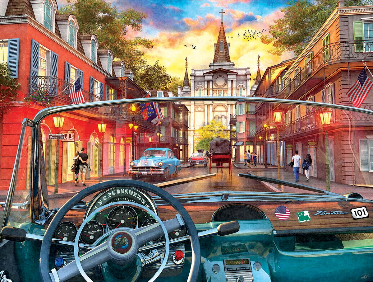 Window on New Orleans Street Scene Jigsaw Puzzle
