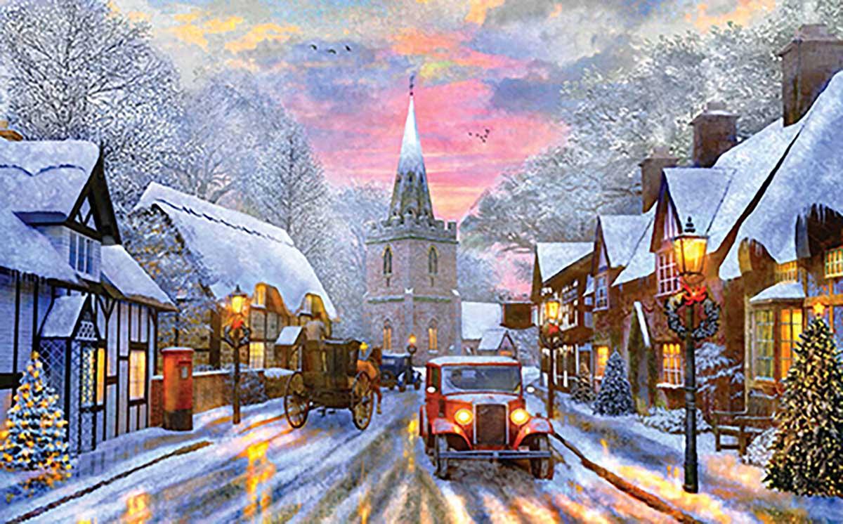 A Village Drive Winter Jigsaw Puzzle