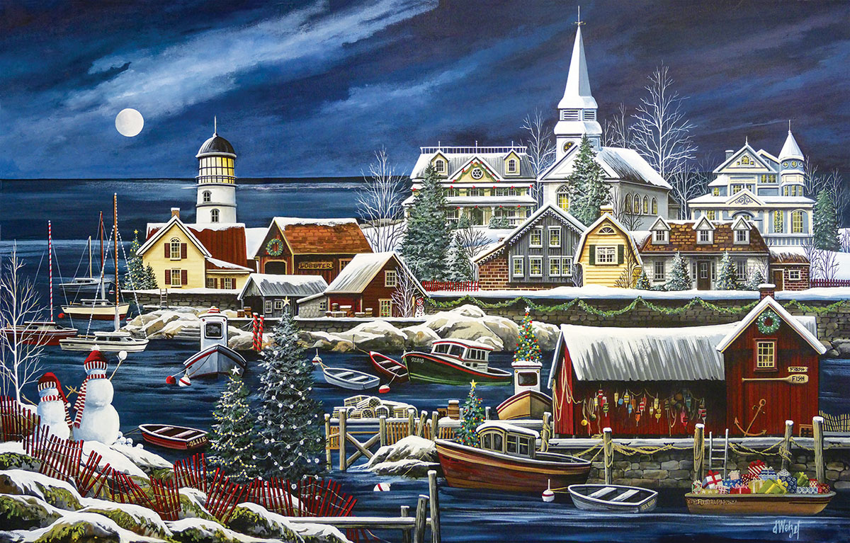 Winter Harbor Lighthouses Jigsaw Puzzle