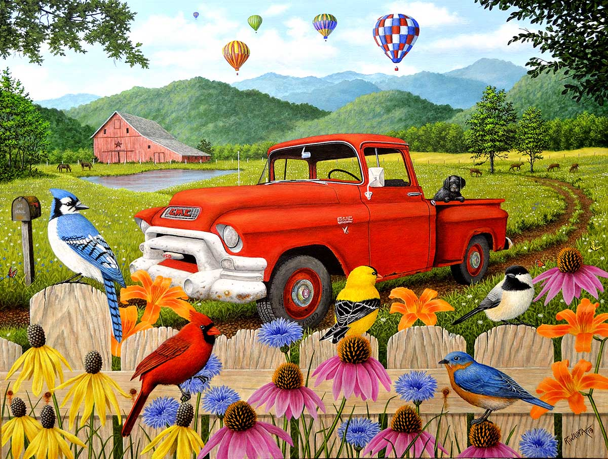 The Red Truck Birds Jigsaw Puzzle