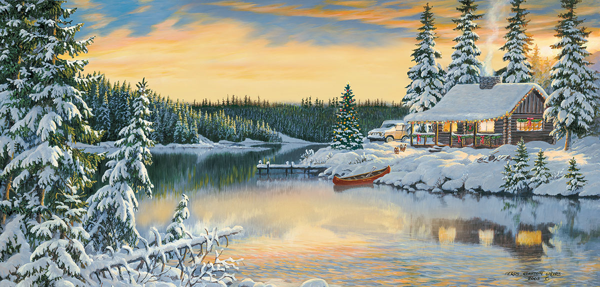 Cabin on the River Christmas Jigsaw Puzzle