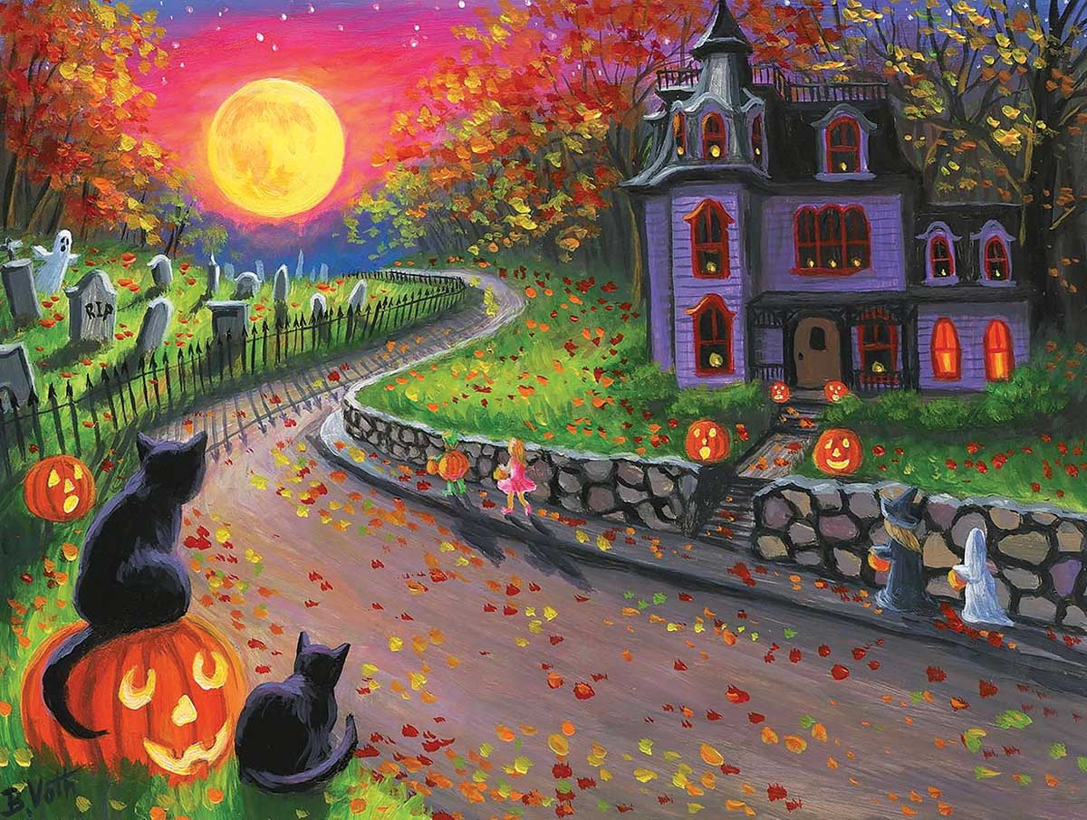On a Spooky Night Cats Jigsaw Puzzle