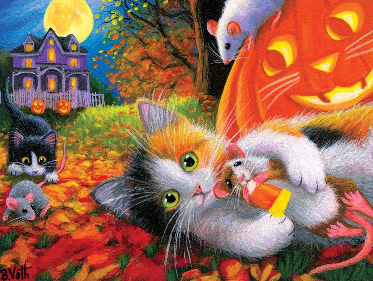Halloween Fun With Friends Cats Jigsaw Puzzle