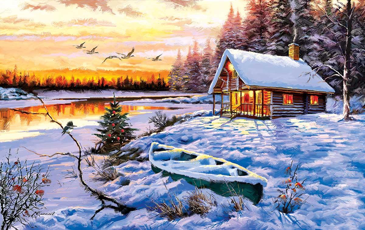 Log Cabin Winter Jigsaw Puzzle