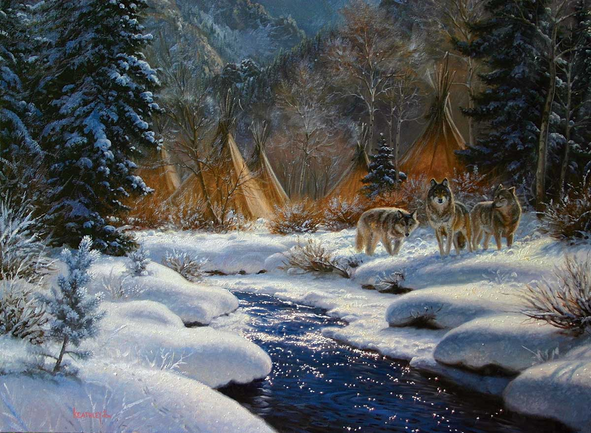 Winter Intruders Wolves Jigsaw Puzzle