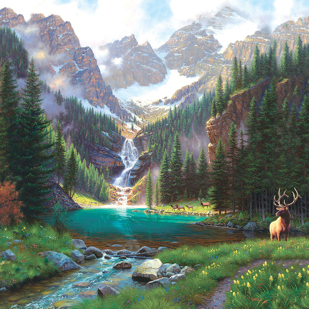 Elk at the Waterfall Mountains Jigsaw Puzzle